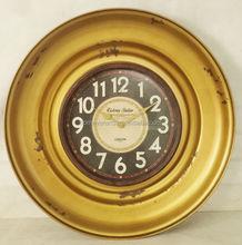 Round antique gold iron wall clock