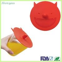 FDA LFGB devil shape eco silicone cup lid