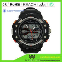 DW1379 NEW Sporting Goods Oversize 5 ATM Clock Black Plastic LCD Digital Analogue Mens Watch