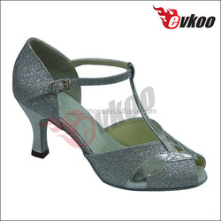Shiny sequined Cloth dance shoes small open toe T- Strap leather sole dance shoes hong kong leather sole dance shoes women