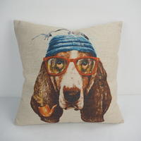 Decorative cushion cover for office chair throw decor sofa bed car pillow dog print cushion with zipper