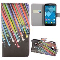 2014 Newest Products Wallet Pattern Meteor Shower Flip Leather Case for Alcatel One Touch Pop C7