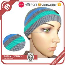 Jacquard design custom crochet mens knit hat with ball top
