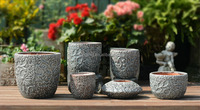 2015 handmade flower pot indoor flower ceramic pots with flower grave on ceramic pots