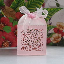 Pink Rose Flower Laser Cut pearl paper wedding candy box chocolate favour box baby shower gift box christmas new born gift