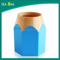 Pencil-shaped Sky Blue ABS Plastic Pen Holder for School Students and Children