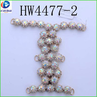 HW4477-2 renqing shoe collection diamante gold color bridal shoe clips K9 special AB glass H chains