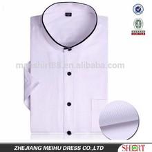 Mandarin collar short sleeves men shirt camisa