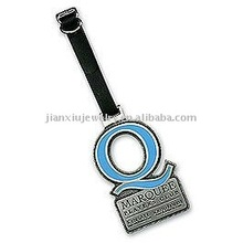 Metal Alloy luggage tag with leather holder