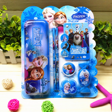 frozen children school stationery set pencil+rubber+sharpener+notebook+pen+pencil box