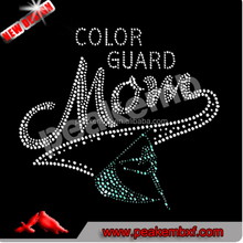 Hot Fix Crystal Design Color Guard Mom Rhinestone Transfers Iron on for T Shirt and Tees