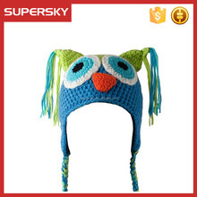 A-606 baby winter hat with earflaps baby animal hat with earflaps pattern custom kids owl hat with earflap