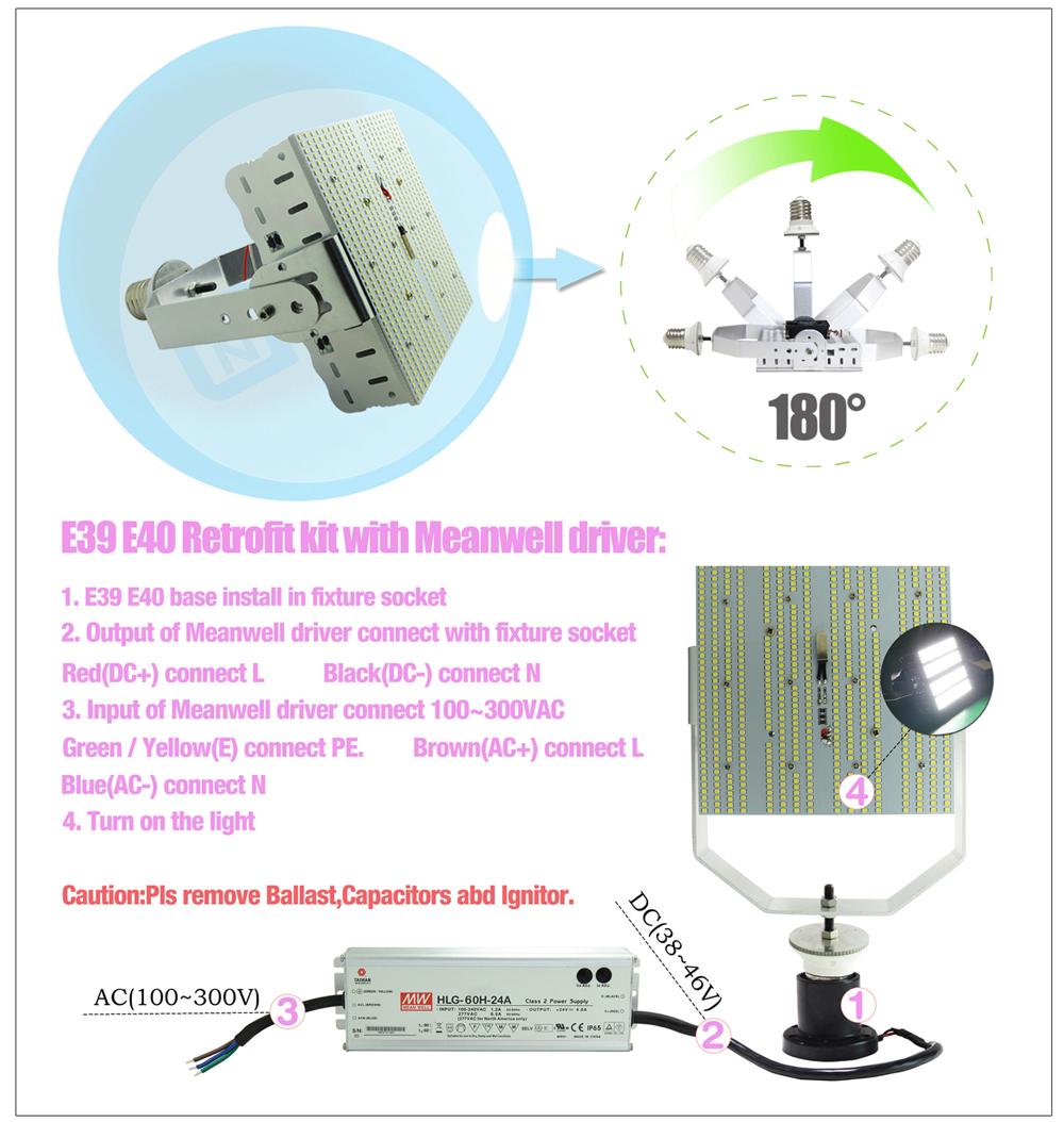 Parking Lot Light Pole Grounding: Led Street Parking Lot Light 150w E40 Led Retrofit Kit