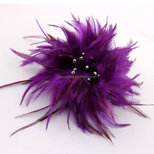 Real Dyed Feather Brooch Pin,Small Feather Biot Brooch/Hat Pin,Stylish Fashion Hair jewelry