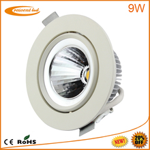 2014 project designed,Epistar, Bridgelux,cut out80,85,90mm,PF0.9,CRI80,10w,230v 240v,dimmable cob 9w led downlight cree