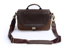 2015 Hot New Goods Canvas&Real Leather Digital Camera Bag,High Quality Men's Messenger DSLR Camera Bag