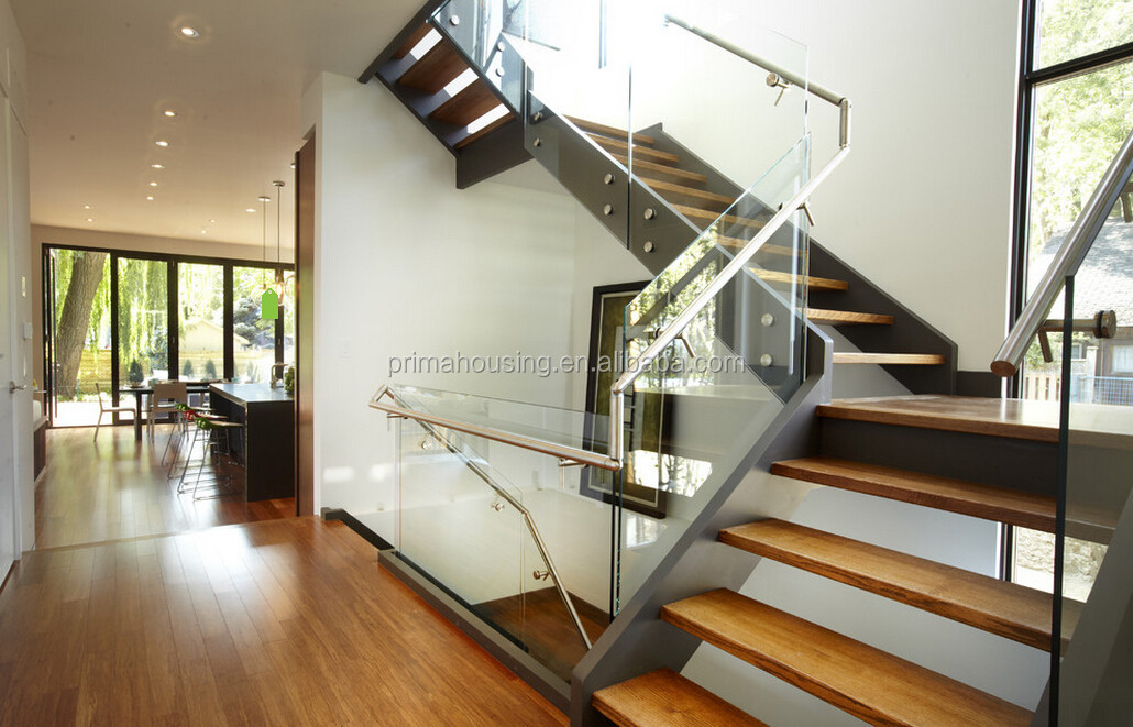 U Shape Wood Straight Prefab Stairs Double Steel Stringer