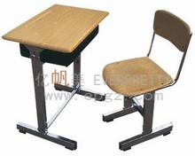 Chrome Adjustable Pencil Table and Chairs, Wooden Top with Chrome Frame, Chrome Desk and Chair