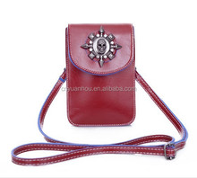 Lady PU Leather Coin Cell Phone Case Mobile Pouch Mini Shoulder Bag