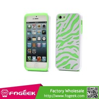 Fogeek Hot Sellling 2 in 1 Zebra Texture High Impact PC & Silicone Composite Case for iPhone 5