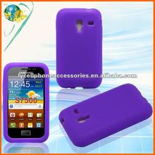 New Purple Silicon Cover For Samsung Galaxy Ace Plus S7500 Solid Rubber Mobile Phone Case