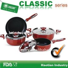 7pcs Aluminum Non stick Cookware Set with Stainless Steel Cover