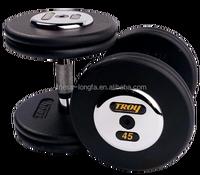 Black Pro Style Dumbbells W/Chrome Caps 5 - 50lb Set