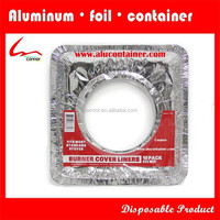 Household Kitchen Used Disposable Square Aluminium Foil Gas Burner/Stove Mat/ Gas Stove Liner With One Hole