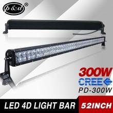 52inch led work light bar 4d 300w straight cre e led motorcycle light bar