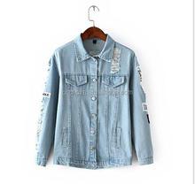 Z51272B autumn design women short denim ripped jackets