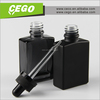 New design glass bottle manufacturers italy, black frosted/matte 30ml glass dropper bottles with childproof dropper for vapor