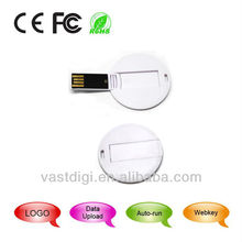2GB Round Card USB Flash Drive / Round Card USB Stick / Round Card USB with OEM , free logo printing,Promotional Gifts