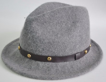 whosale men's winter wool felt hat with leather band