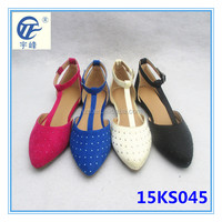 The latest colorful pointed toe girls flat shoes with rhinestone