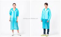 2015 fashion design hot sale blue plastic disposable rain poncho