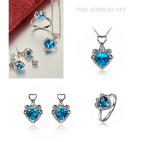 Solid 18 Karat White Gold Natural Diamond Heart Shaped Topaz Jewelry Set