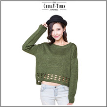 New product TOP knitted Green Crew Neck women sweaters 2015
