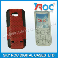 Silicone+PC mesh mobile phone combo case for Nokia C5-00 C5