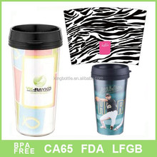 450ML paper insert double wall plastic coffee mug and cups