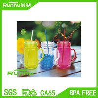 Creative color optional acrylic mason jar mug with handle RH118A-20