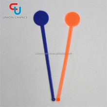 Colorful Stirrers Swizzle Stick Plastic Swizzle Flat Stick With Round Top
