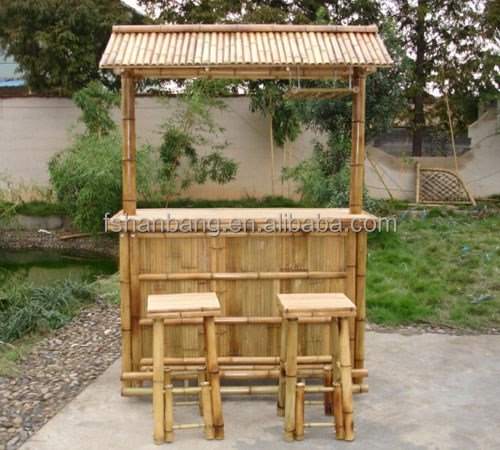 Exterior Bamb 250 Contador Tiki Bar Conjunto De Silla Taburete
