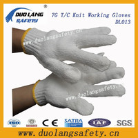 High Quality Natrual White Polyester/Cotton Yarn Working Glove/Beautiful Knit Working Gloves