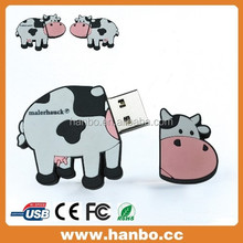 cute milk cow shape USB Flash drive,special PVC animal shape USB disk