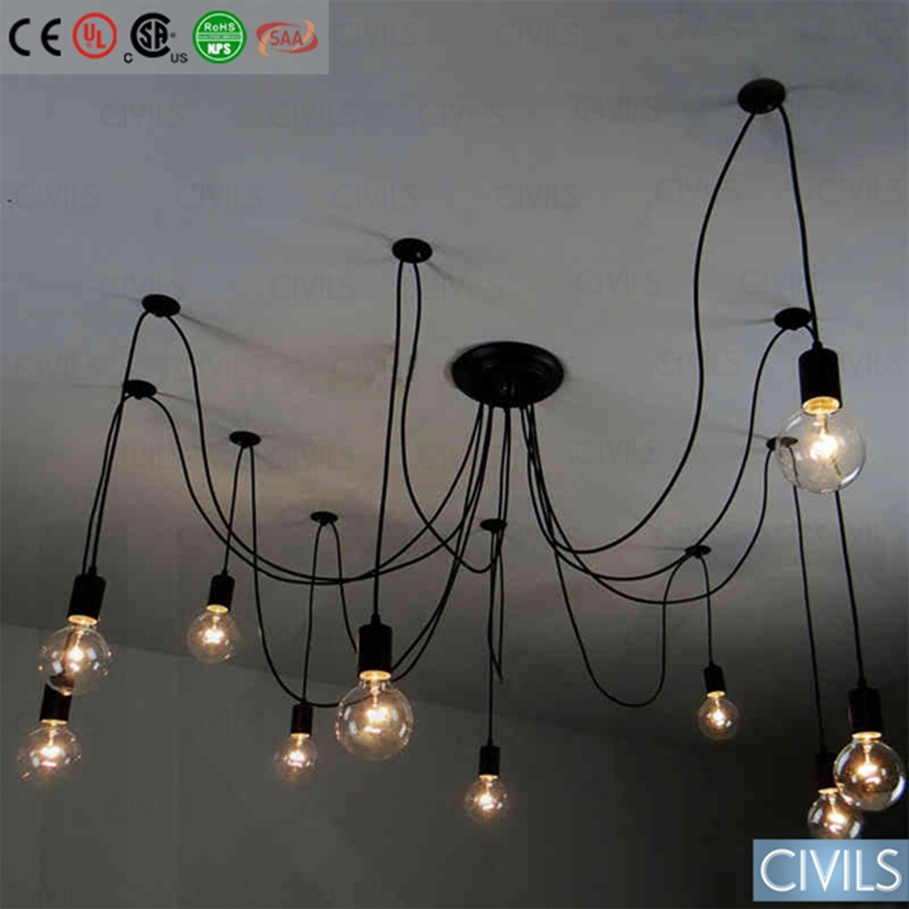 Edison filament bulb vintage chandelier pendant lamp buy for Lampe suspendu noir