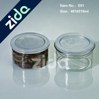 Aluminum lid new food grade plastic easy open PET can for packing nuts candy