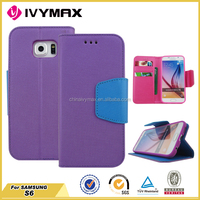 Unique mobile accessories for Samsung S6 pu cover from China factory