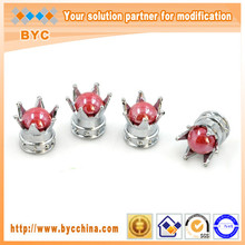 BYC Ruby Pearl Silver Crown Valve Caps Special Car Accessories