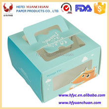 Customized design printed food box for cake with handle