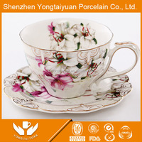 cheap flower decal tea cup and saucer